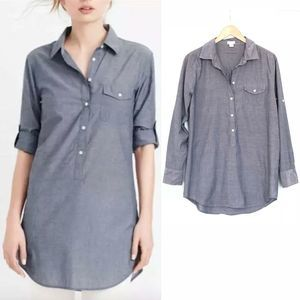 J.Crew Chambray Popover Tunic Top Roll Tab Sleeves